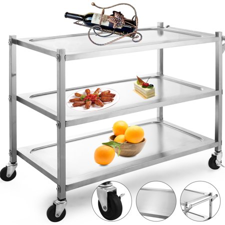 BestEquip Utility Cart 3 Shelf Utility Cart on Wheels 330Lbs Stainless Steel Cart Commercial Bus Cart Kitchen Food Catering Rolling Dolly
