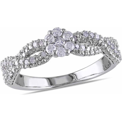 Miabella 1/3 Carat T.W. Diamond Sterling Silver Cross-Over Flower Engagement Ring