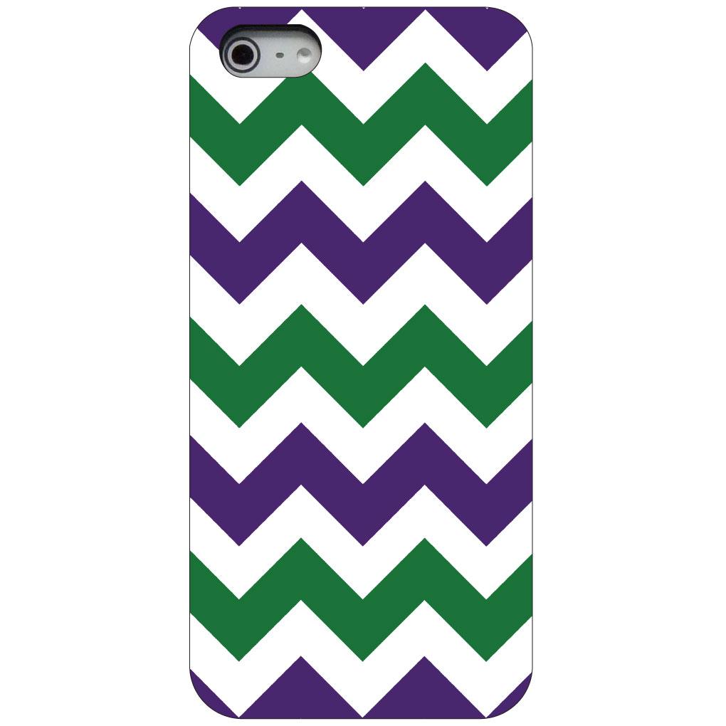 CUSTOM Black Hard Plastic Snap-On Case for Apple iPhone 5 / 5S / SE - Purple Green Chevron Stripes