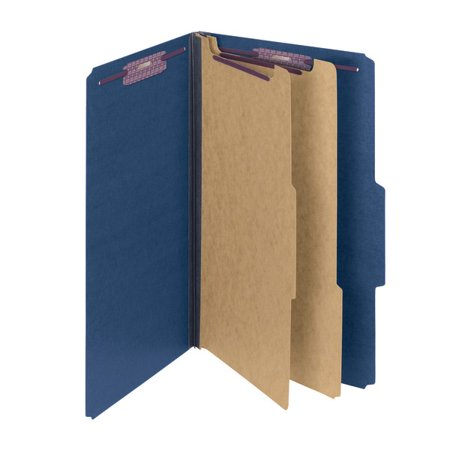 Smead® Pressboard Classification Folders With SafeSHIELD® Fasteners, 2 Dividers, Legal Size, 60% Recycled, Dark Blue, Box Of 10 Smead Pressboard Fastener Folder