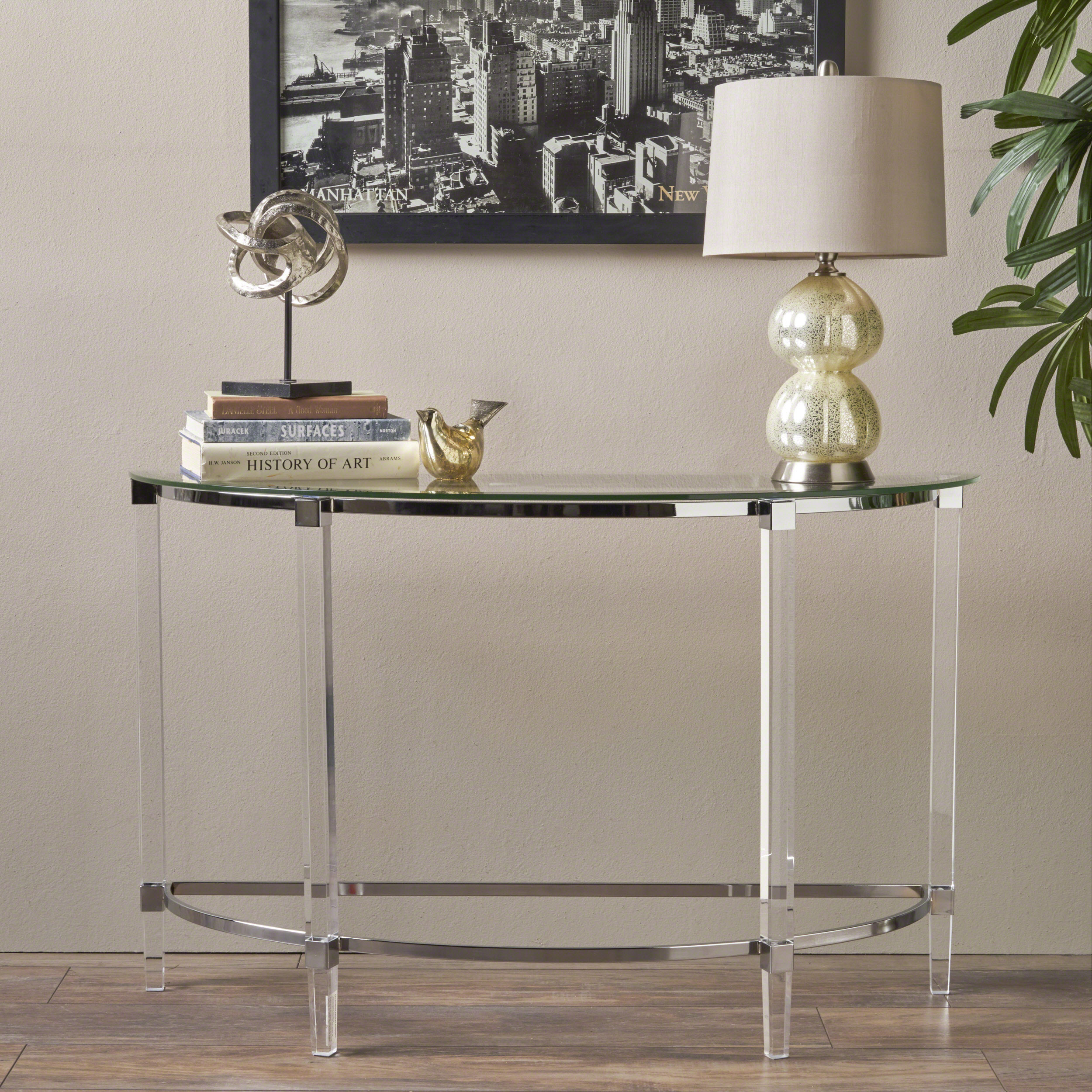 Erin Contemporary Tempered Glass Console Table with Acrylic and Iron Accents