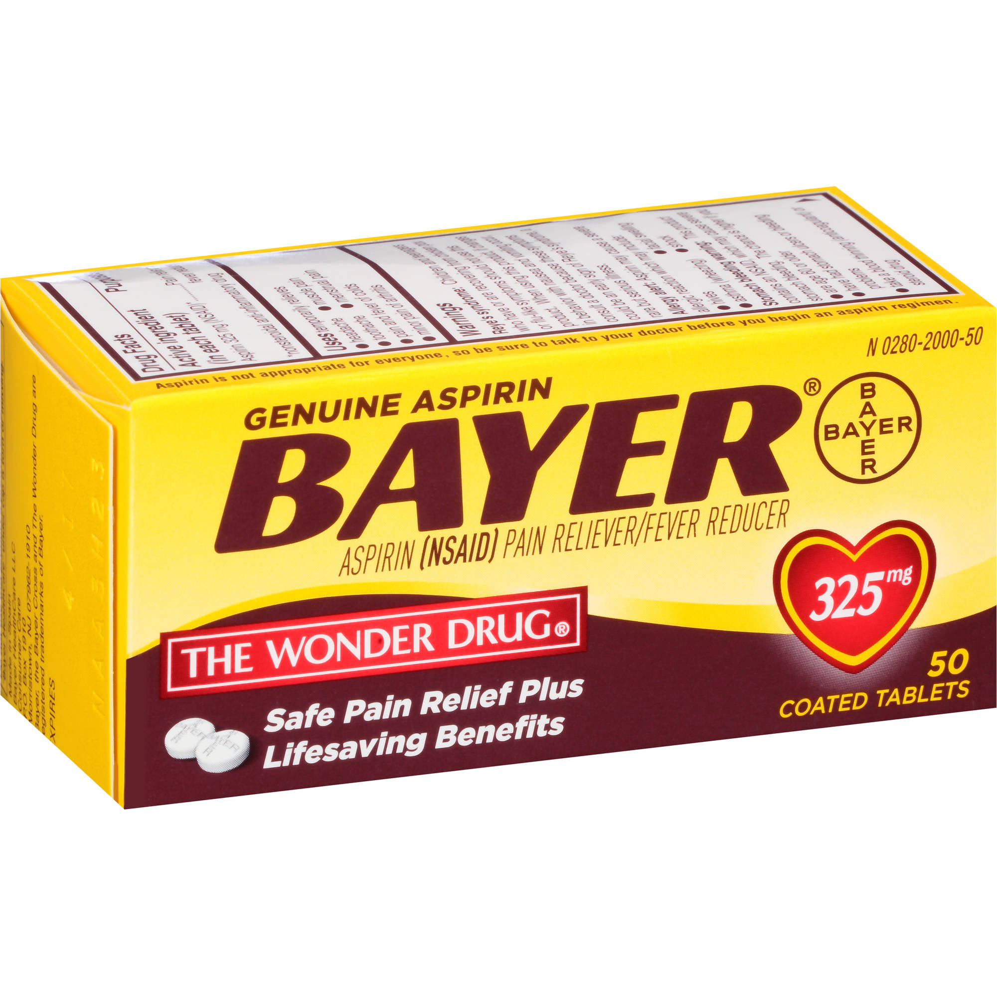Bayer Aspirin Pain Reliever/Fever Reducer, 325mg, 50 count