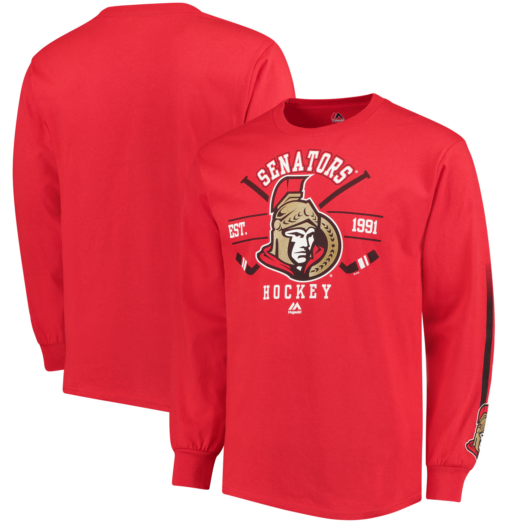 Majestic Ottawa Senators Cross Check Long Sleeve T-Shirt - Red
