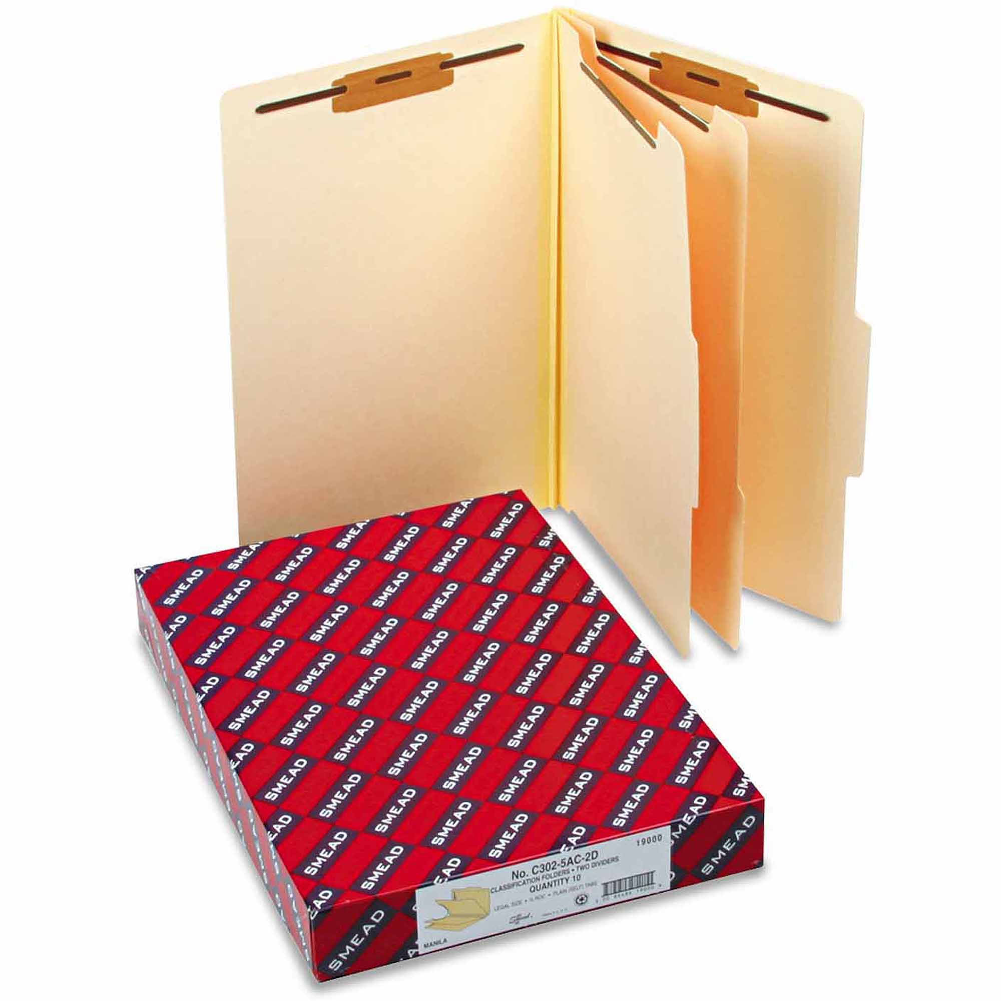 Smead Manila Classification Folders with 2/5 Right Tab, Legal, Six-Section, 10/Box