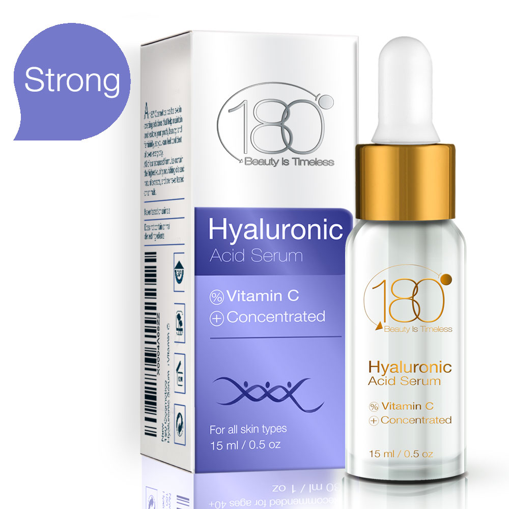 Hyaluronic Acid & Vitamin C Facial Serum by 180 Cosmetics - Concentrated & Pure Hyaluronic Acid for Immediate Results - Most Effective Anti Aging Serum - For Wrinkles & Fine Lines - Clinical Strength