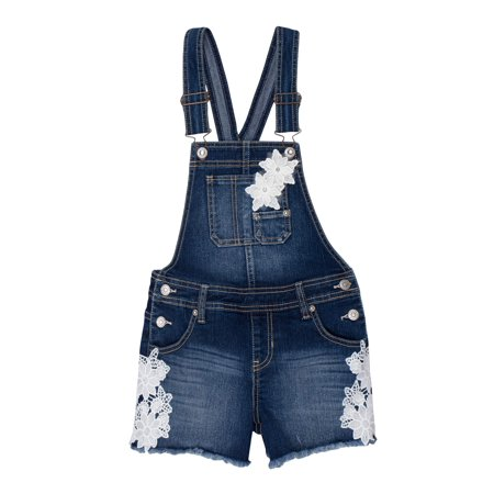 Fray Hem Overall Short (Little Girls & Big (Denim Girls Overalls)