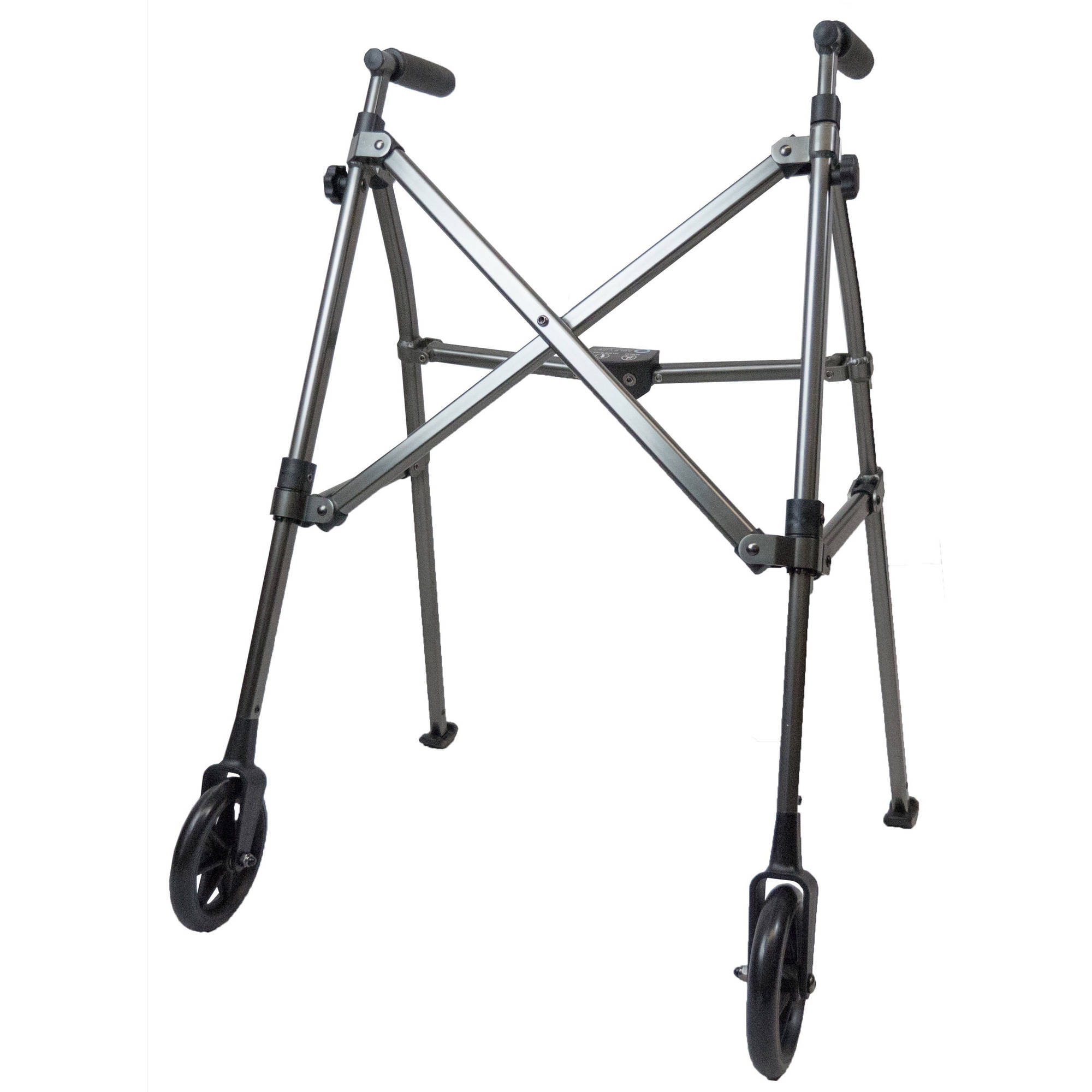 "Able Life Space Saver Walker - Black Walnut, Folding Travel Walker with 6"" wheels + Bariatric frame supports 400 lbs"