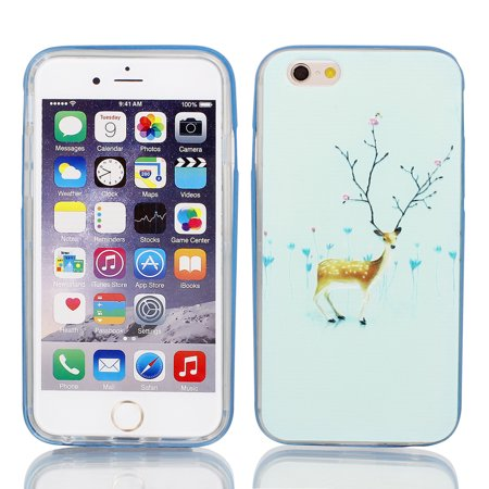 Plastic Sika Pattren Case Cover w Bumper Frame for iPhone 6 4.7  Pale