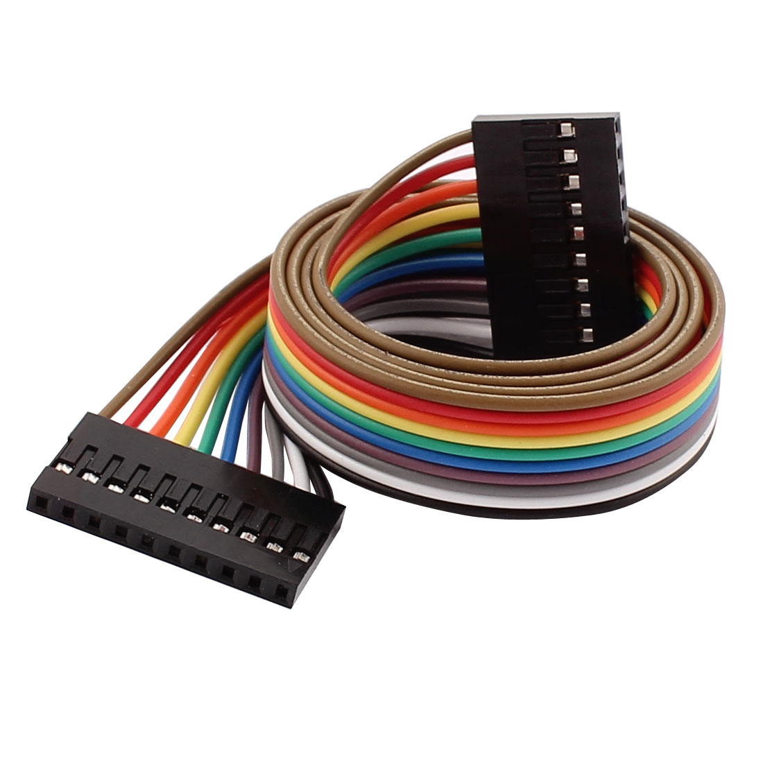 5 Pcs 2.54mm Pitch 10P Female Breadboard Double Head Jumper Wire Cable 50cm Long