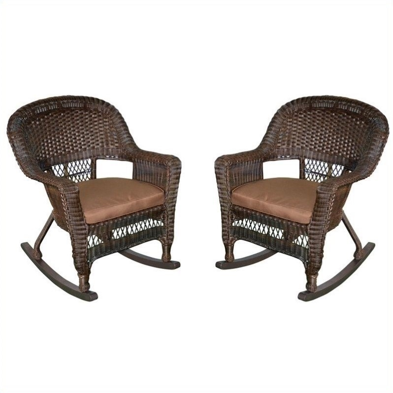 Pemberly Row Rocker Wicker Chair in Espresso and Brown (Set of 2)
