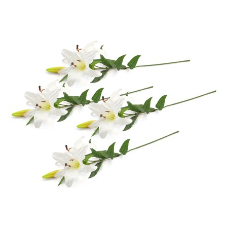 DII 4 Piece Artifical Tiger Lily Silk Flowers For Bridal Bouquet, Home Decoration, DIY, Garden, Office Decor, Centerpiece Décor - White ()