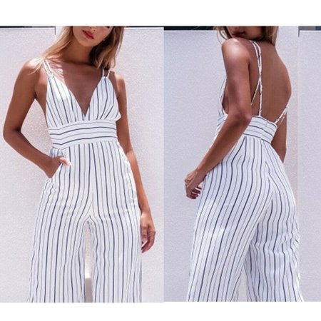 Women Striped Clubwear V Neck Playsuit Bodycon Party Jumpsuit&Romper - Satin Playsuit
