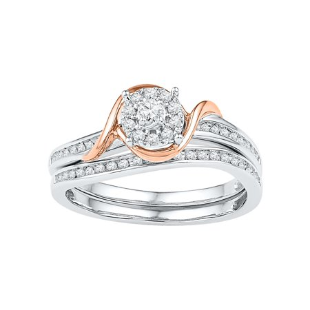 Size - 7 - Solid 10k Rose And White Gold Round White Diamond Bridal Solitaire Flower Engagement Ring with Matching Wedding Band (1/4 cttw)