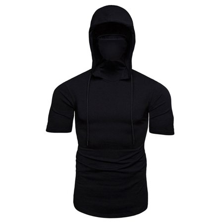 The Flash Hoodie With Mask (Men's Short Sleeve Hooded T-Shirt Slim Hoodie With Mask Summer Gym Muscle)