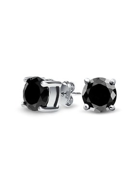 Bling Jewelry Mens Unisex CZ Round Black Stud Earrings Sterling Silver 5mm