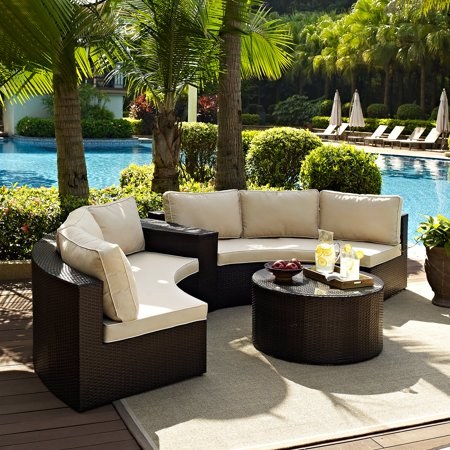 Crosley Catalina 4 Piece Outdoor Wicker Curved Conversation Set ()