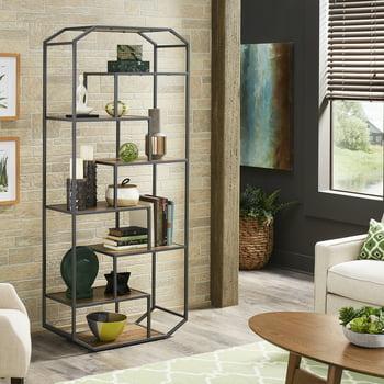 Weston Home Kavita Finish Metal Clipped Corner Bookcase