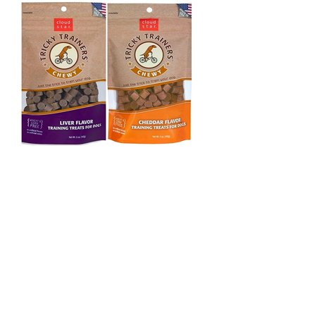 Treats Liver Flavor - Cloud Star Chewy Tricky Trainers Flavor Variety Dog Treats Bundle: (1) Cloud Star Chewy Tricky Trainers Cheddar Flavor, (1) Cloud Star Chewy Tricky Trainers Liver Flavor, 5oz Bags