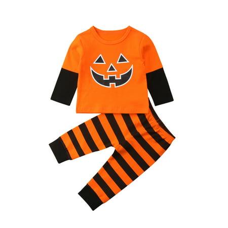 Baby Unisex Boys Girls Funny Halloween Bodysuits Pumpkin Pant Outfits 2pcs Set