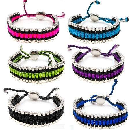 Friendship Bracelets for Women Girls Men Teens 6 PC Pack - Silver Tone Link Tube Beads Bracelet Braided with Colored Cord - Adjustable - Great Party Favors and Gifts (Friend Ship Bracelets)