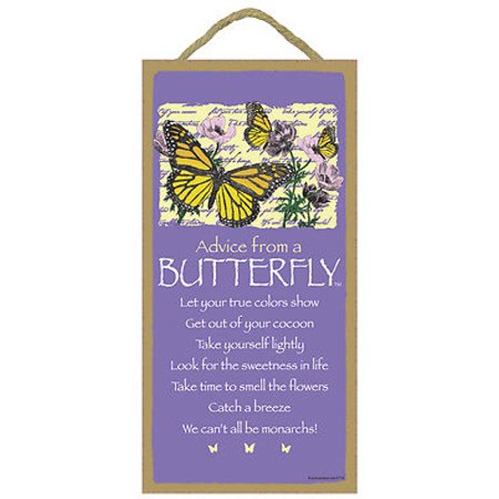 ADVICE FROM A BUTTERFLY Primitive Wood Hanging Sign 5