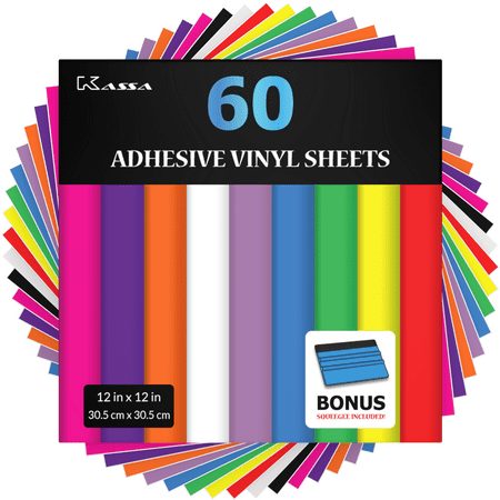 "Kassa Permanent Vinyl Sheets (Pack of 60, 12"" x 12"") - Includes Bonus Squeegee - Bundle of Assorted Colors (Matte & Glossy Craft Paper) - Self Adhesive Outdoor Vinyl for Cricut & Silhouette Cameo"