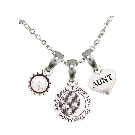 Aunt Love You To The Moon Silver Chain Necklace And Charms Jewelry ()