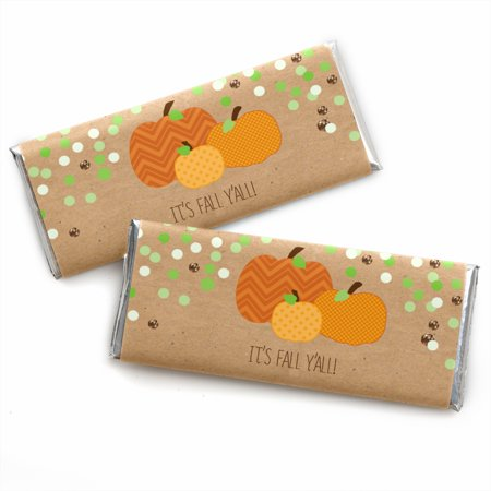 Pumpkin Patch - Fall & Halloween Party Candy Bar Wrappers Party Favors - Set of 24 - Halloween Bar Event Ideas