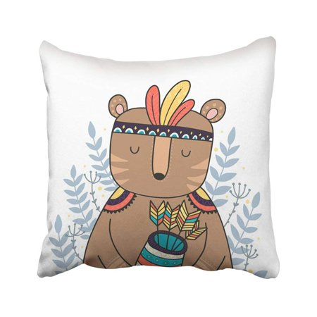 BPBOP Black Tattoo Wild Animal Boho Woodland With Nursery Prints Bear White Aztec Baby Bohemian Pillowcase Throw Pillow Cover Case 18x18 inches