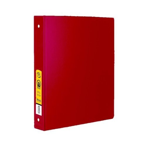 """Bazic 1"""" Red 3-Ring Binder With 2-Pockets(Pack Of 12"""