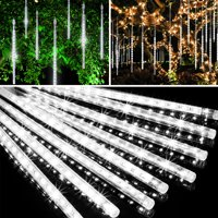 EEEKit Meteor Shower Lights 30cm 144LED 8 Tubes, LED Snowfall Falling Rain Drop Icicle Snow Fall String Waterproof Cascading Lights Indoor Outdoor Xmas Tree Wedding Party Decoration - 5/2/1Pcs