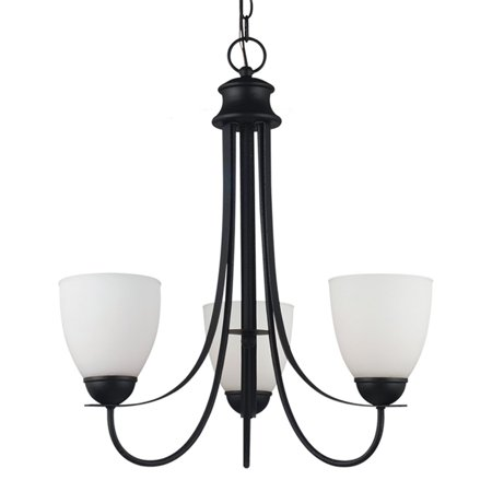 Sea Gull Lighting Uptown 3-Light Chandelier - 21W in. Blacksmith (Dinette Transitional Chandelier)