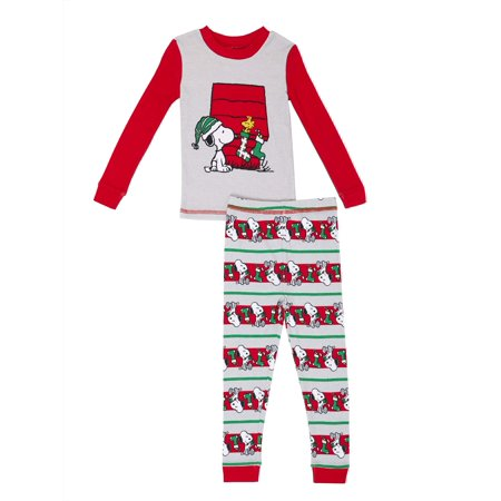 peanuts snoopy christmas graphic long sleeve top pants pajamas 2pc set toddler boys walmartcom - Snoopy Christmas Pajamas