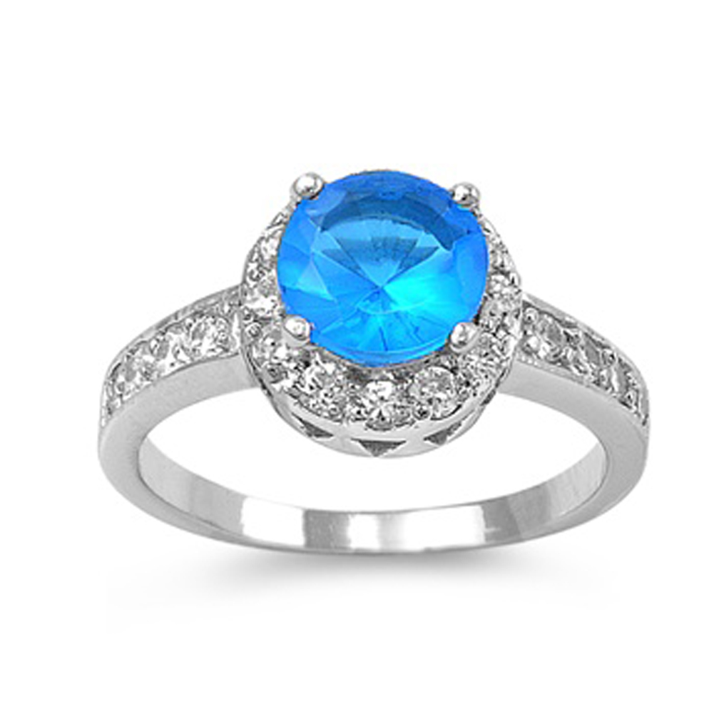 Round Simulated Aquamarine Women's Solitaire Ring ( Sizes 5 6 7 8 9 10 ) .925 Sterling Silver Band Rings (Size 7)