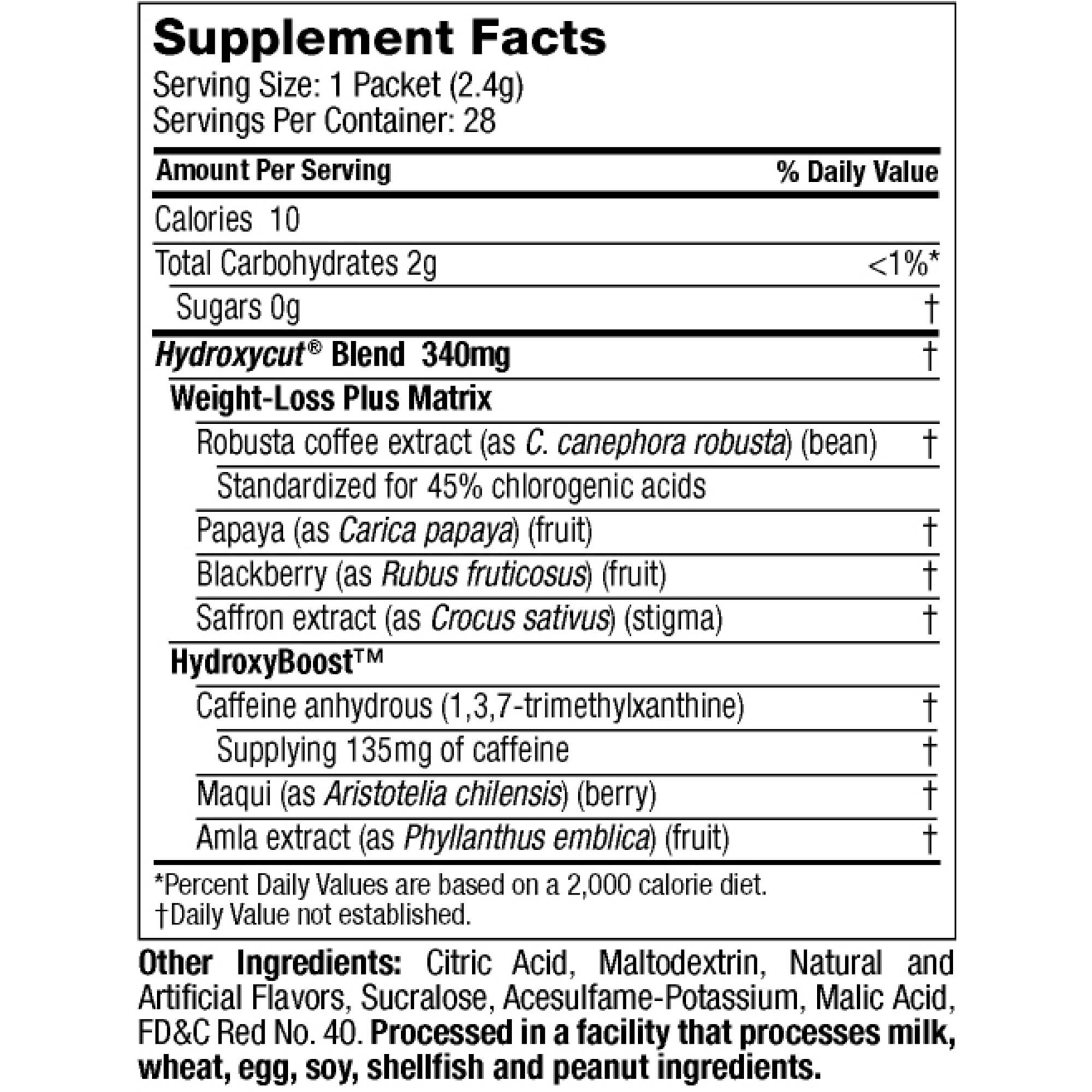 Hydroxy Cut Drink Mix Wildberry 2 37 Oz 21 Packets 1 Count Com