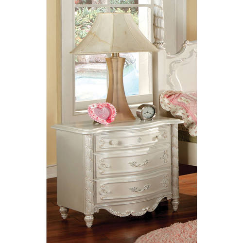 Furniture of America Caity Traditional Youth Nightstand, Pearl White