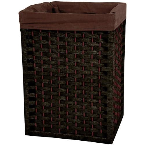Oriental Furniture 17'' Natural Fiber Basket in Black