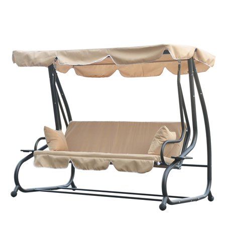 Outsunny 3 Seat Outdoor Free Standing Covered Swing Bench - Beige ()