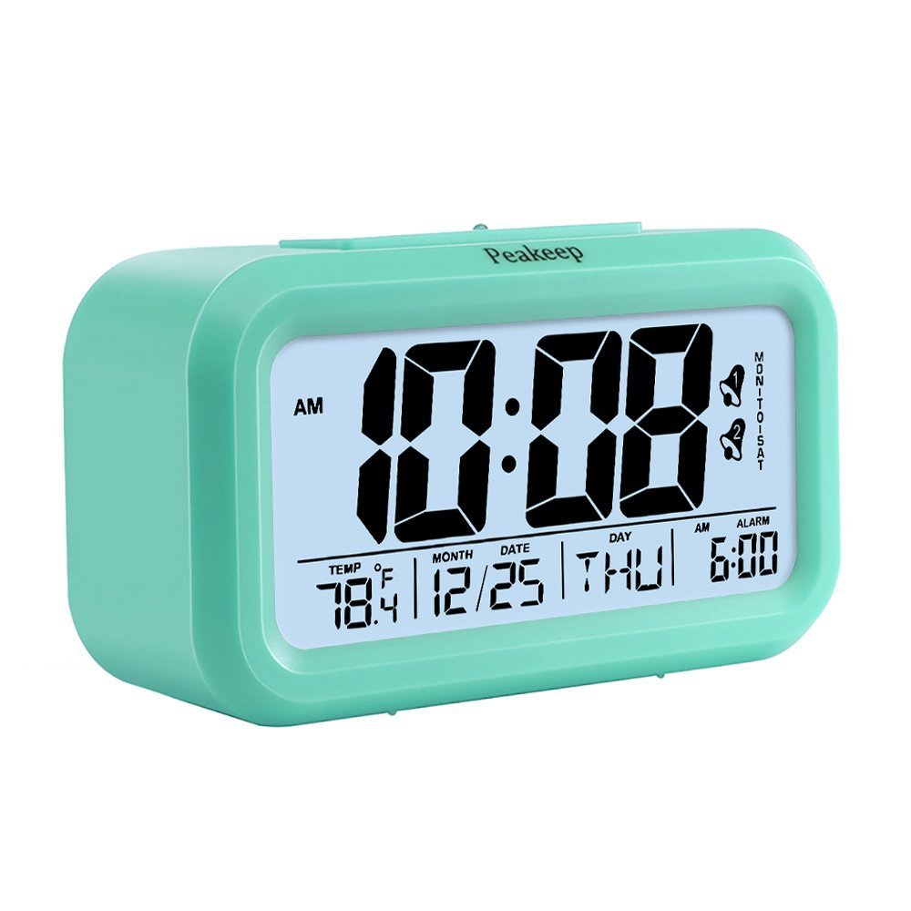 Peakeep Battery Digital Alarm Clock with 2 Alarms_ Snooze...
