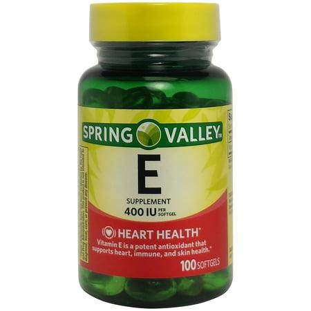 Spring Valley E vitamine coeur / santé immunitaire alimentaire Supplément 100 Ct