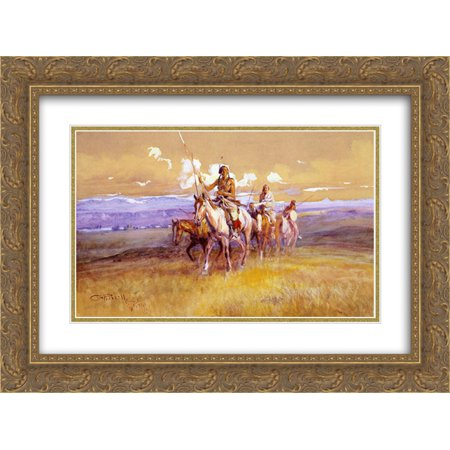 Charles M. Russell 2x Matted 24x18 Gold Ornate Framed Art Print