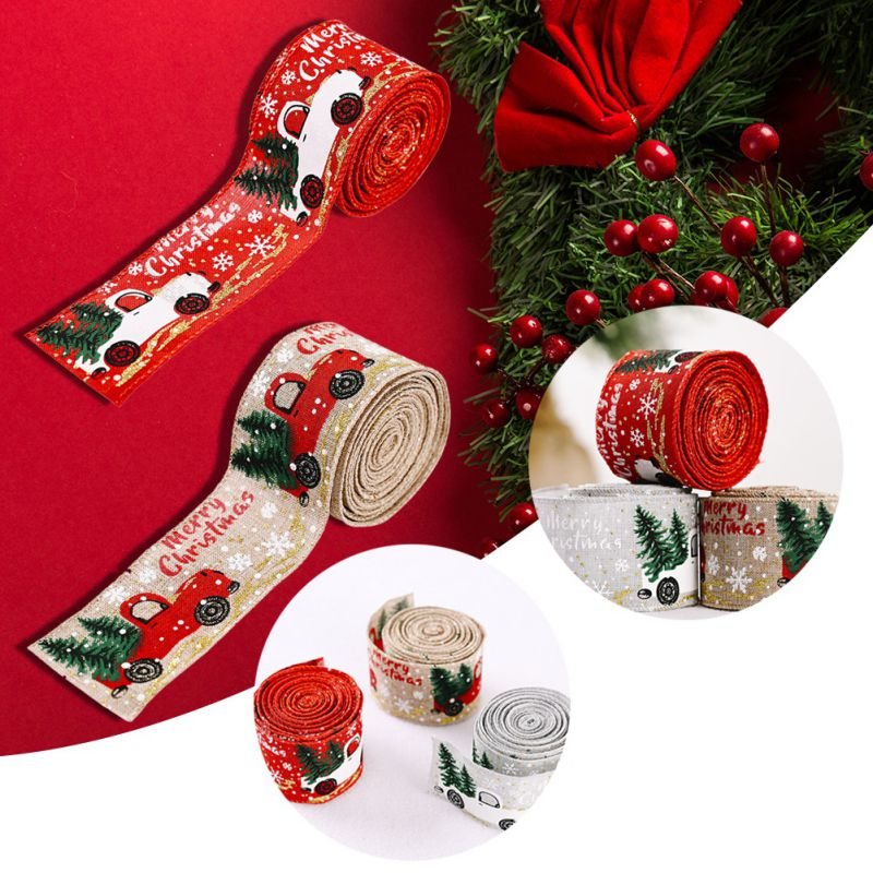 Details about  /5M Wide Linen Printed Ribbon Merry Christmas DIY Decoration