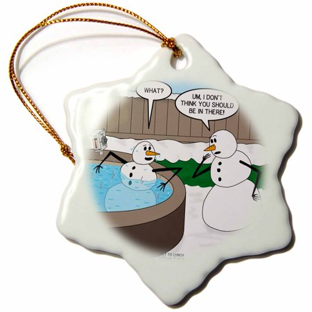 3dRose Snowman in a Hot Tub - Bad Idea - Snowflake Ornament, 3-inch ()