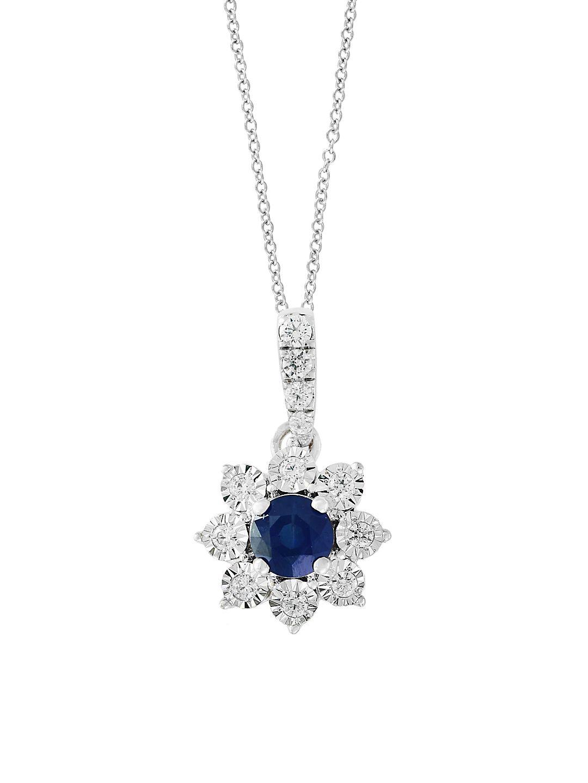Royal Bleu 14K White Gold, Diamond and Natural Sapphire Pendant Necklace