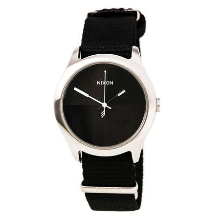 A344000 Men's The Quad Black Grey Dial Black Nylon Strap Steel Watch