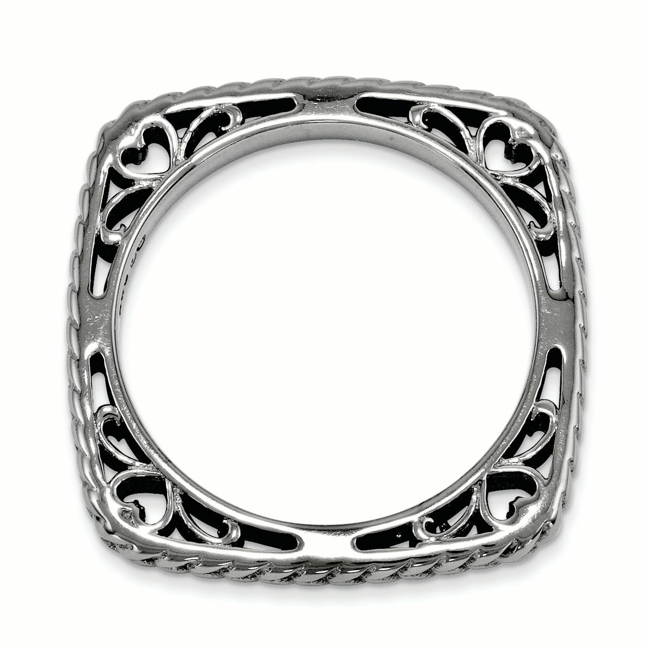 925 Sterling Silver Black Plate Square Band Ring Size 8.00 Stackable Fine Jewelry Gifts For Women For Her - image 2 de 3