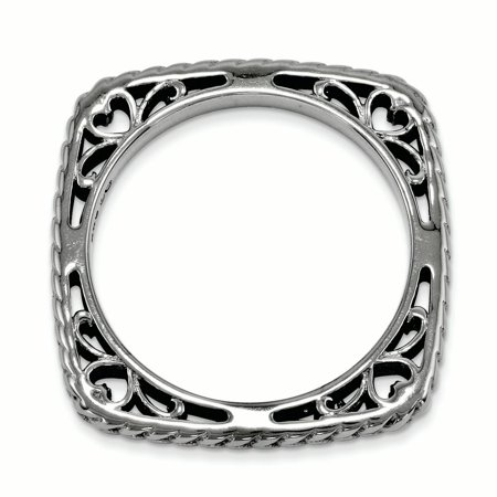 925 Sterling Silver Black Plate Square Band Ring Size 5.00 Stackable Fine Jewelry For Women Gifts For Her - image 3 de 7