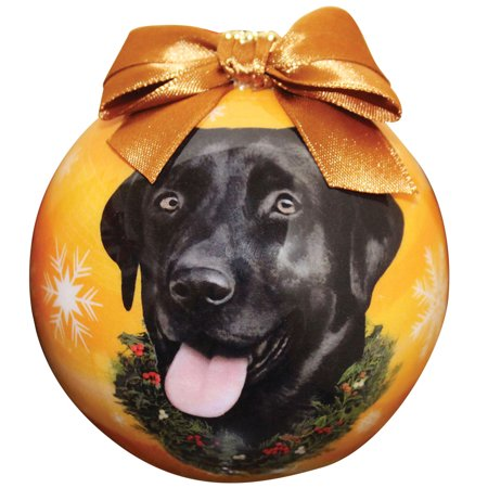 Dog Breed 3 Inch Christmas Tree Ball Ornament w/ Ribbon - Black - Black Christmas Tree Ornaments