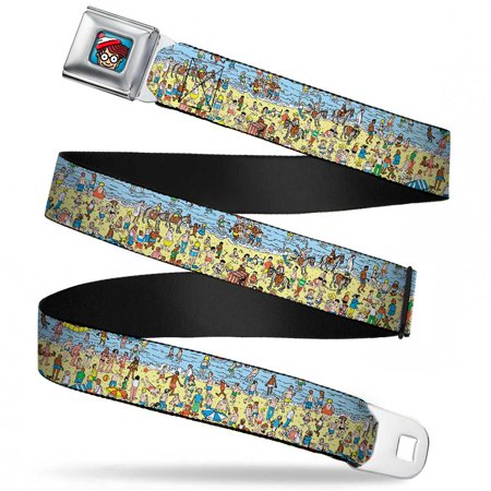 Waldo Bottom Crop Full Color Blue Where's Waldo? On The Beach Webbing Seatbelt Belt Standard