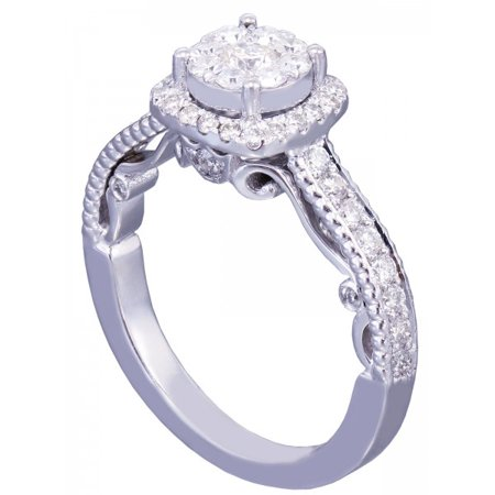 Art Deco Diamond Engagement Ring - 14k White Gold Round Cut Diamond Engagement Ring Art Deco Prong Set Halo 0.72ctw